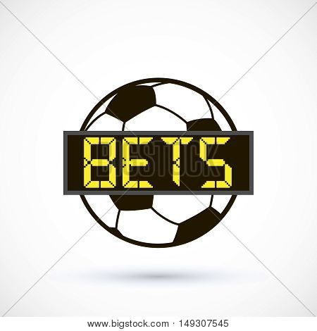 Sport logo betting soccer ball logo electronic scoreboard. Vector Illustration Isolated On White Background