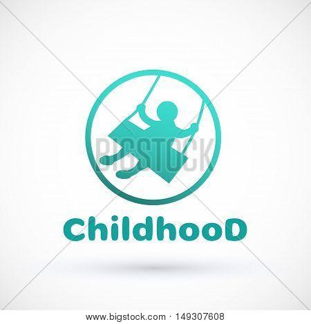 Symbol littlechild swinging on a swing Vector baby logo