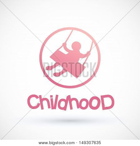 Symbol child swinging on a swing Round Vector baby logo