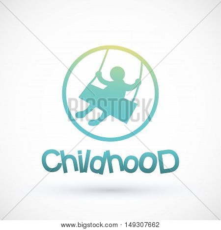 Symbol childhood swinging on a swing Vector child logo