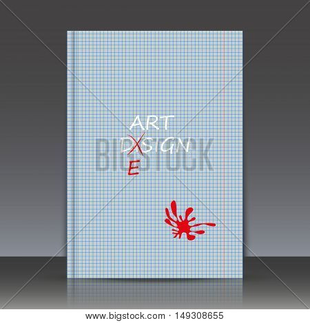 Abstract Composition, Spelling Mistake Correction Theme, Red Inkblot, Orphography Backdrop, A4 Broch