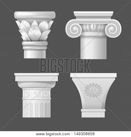Set of ancient capitals for the columns of buildings in different styles in vector graphics