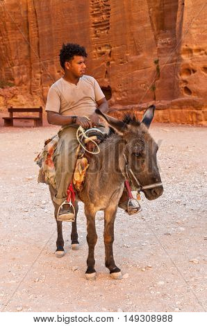 Petra Jordan - November 20 2010: A local guide is waiting with her donkey for visitors to take through the ancient city of Petra in Jordan. Local bedouins are guiding tourists through the ancient city of Petra on the back of ass. Petra is one of UNESCO he