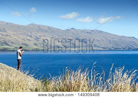 Queenstown New Zealand - February 2019: Viewpoint of Lake Wakatipu at the Devil's Staircase Queenstown South island of New Zealand