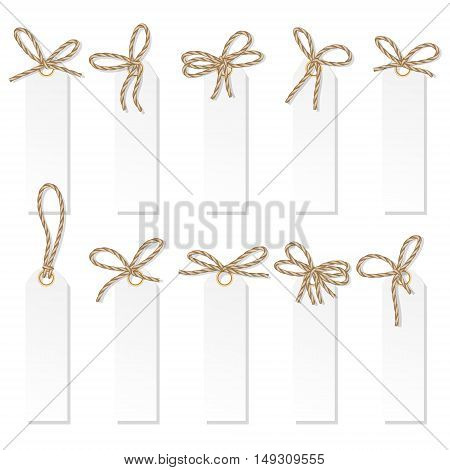 Set of tag labels with rope bakers twine bows on white background