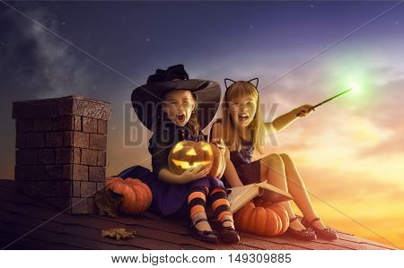 Two happy sisters on Halloween. Funny kids in carnival costumes sitting on the roof. Cheerful children with pumpkin, magic wand and book of spells.