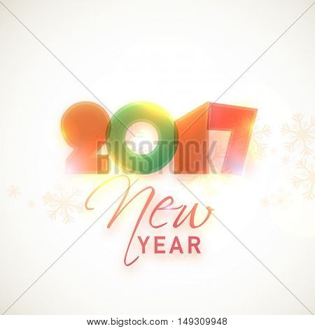 Glossy colorful text 2017 New Year on snowflakes decorated background. Vector greeting card design.
