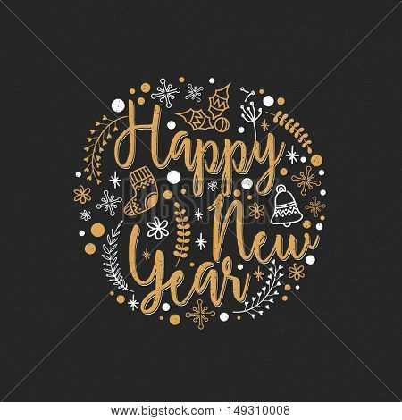 Stylish Happy New Year Typography with Christmas Ornaments, Beautiful greeting card for Happy Holidays Celebration.