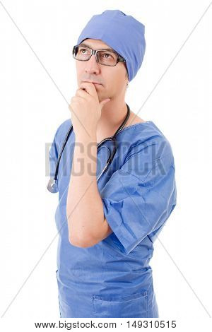 male doctor thinking, isolated over white background