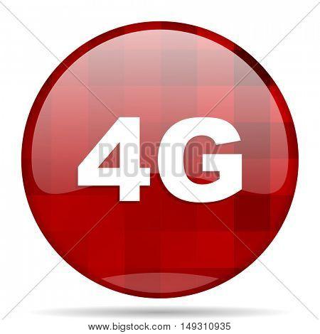 4g red round glossy modern design web icon