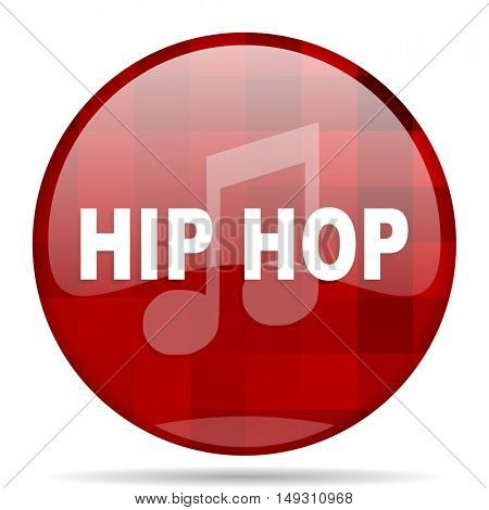 hip hop red round glossy modern design web icon