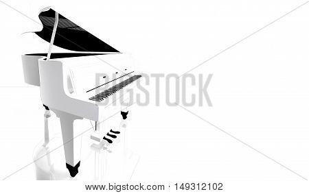 Piano keys on white piano. 3D illustration