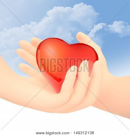 The male hand transfers red glass heart to a female hand. 3D illustration