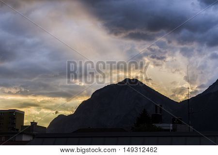 Beautiful Sunset in the Mountains of the Austrian Alps