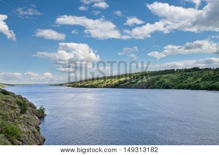 landscape with river Dnepr summer cloudy day