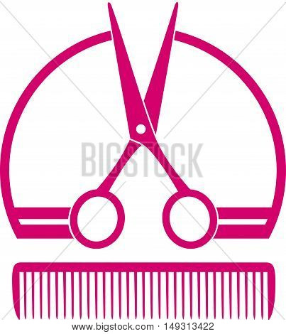 pink concept barbershop icon with scissors and comb on white background