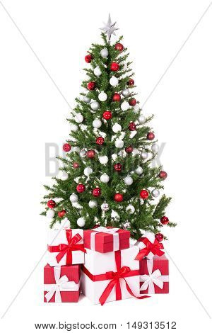 Decorated Christmas Tree With Colorful Balls And Gifts Isolated On White