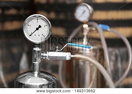 Pressure meter in wine cellar, closeup