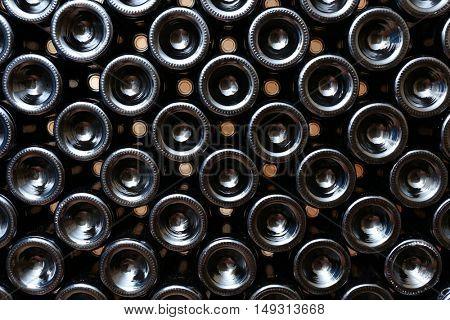 Many wine bottles in cellar