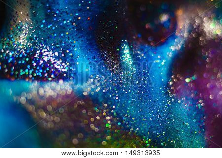 Portrait Of Beautiful Woman Painted With Cosmic Colors And Spangled.