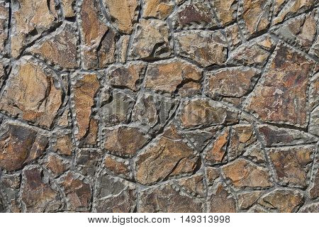 background wall of rough-hewn stones close up