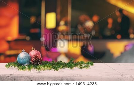 christmas decoration on old white wooden bar in a night club