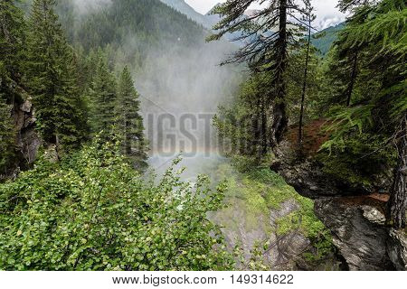 a view of rutor waterfall at aosta valley