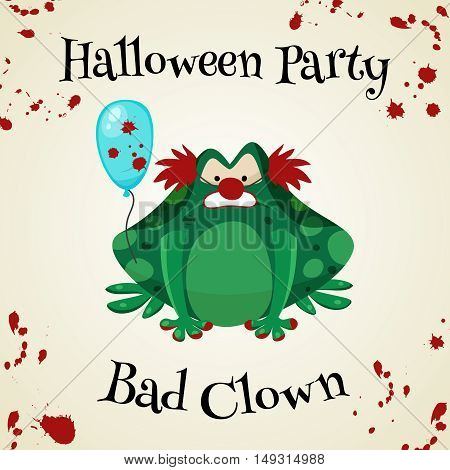 Halloween green toads fashion costume outfits. Bad clown halloween party background. Cartoon style vector illustration isolated on white background