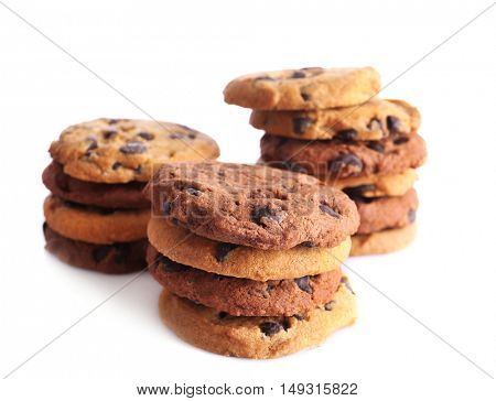 Fresh oat biscuits with chocolate isolated on white