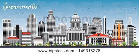 Sacramento Skyline with Gray Buildings and Blue Sky. Vector Illustration. Business Travel and Tourism Concept with Modern Architecture. Image for Presentation Banner Placard and Web Site.