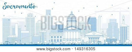 Outline Sacramento Skyline with Blue Buildings. Vector Illustration. Business Travel and Tourism Concept with Modern Architecture. Image for Presentation Banner Placard and Web Site.