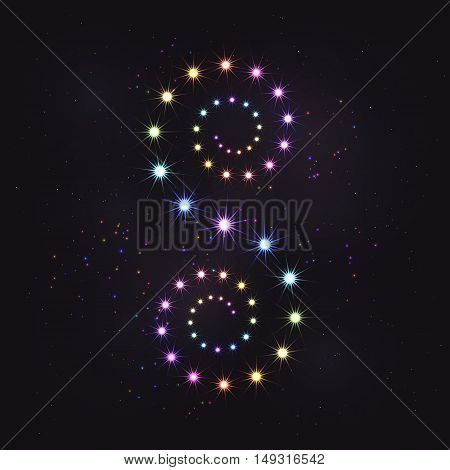 Rainbow colorful star curl spiral decoration element