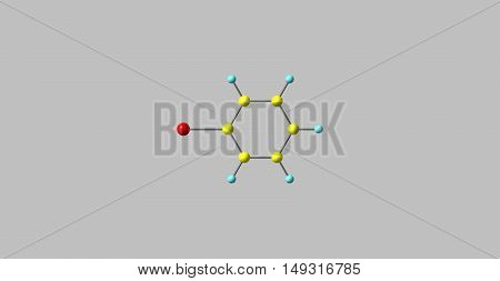 Bromobenzene is an aryl halide C6H5Br which can be formed by electrophilic aromatic substitution of benzene using bromine. It is a clear colourless or pale yellow liquid. 3d illustration