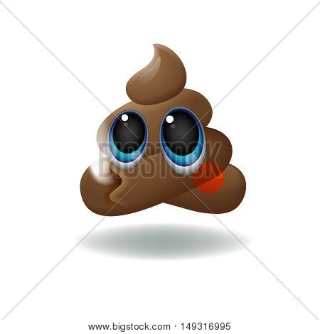 Pile of Poo emoji, shit icon, smiling face with big eyes, symbol, vector illustration.