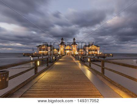 Historic pier at Sellin, Rugia, at dusk