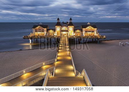 Night shot of the famous wooden pier at Sellin, Rugia