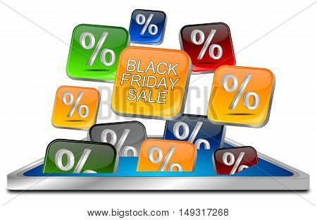 colorful Black Friday Sale button - 3D illustration