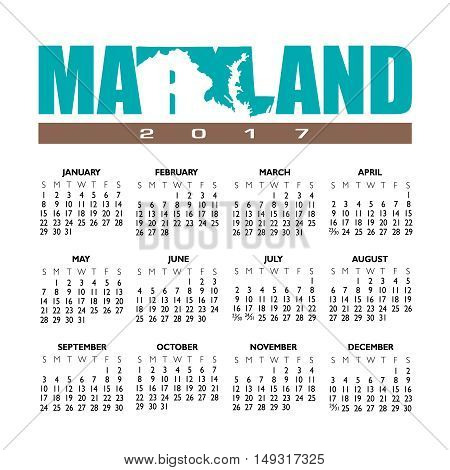 A 2017 creative Maryland calendar with the state outline