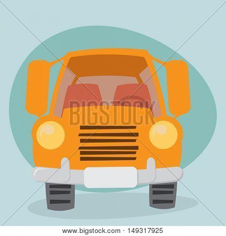 Yellow Cartoon Truck - front view