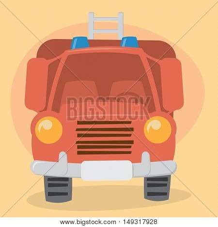 Cartoon Firefighter Truck - front view