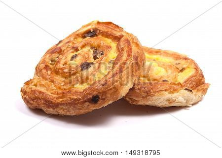 French bread pain aux raisin on a white background