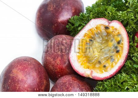 fresh passion fruit on the white background