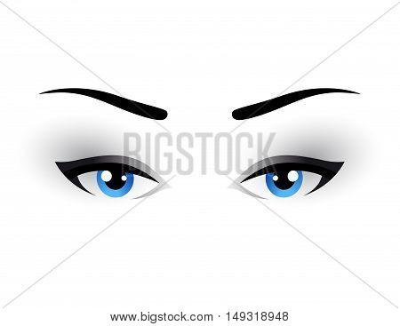 Blue Woman Eyes Makeup