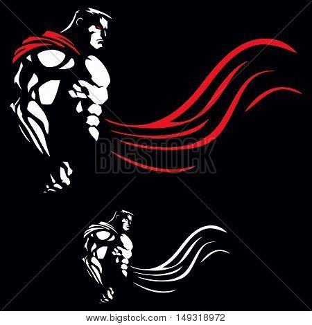 Illustration of superhero on black background in 2 versions.