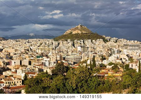 View of Athens and Mount Lycabettus Greece