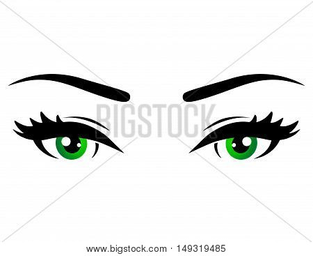 green woman eyes with brow on white background