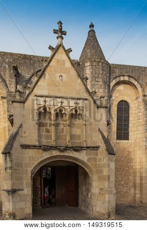 Exterior of Notre Dame la Grande church in Poitiers France