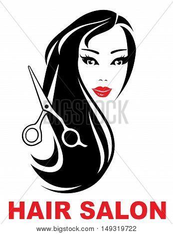 Hair Salon Icon With Woman Face