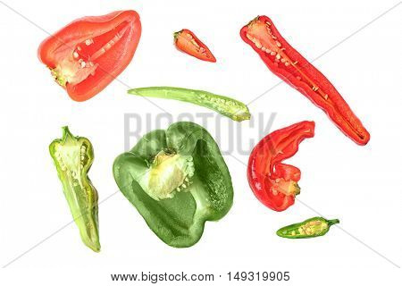 Pepper slices isolated on white