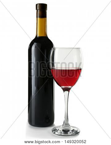 Glass of red wine with bottle on white background